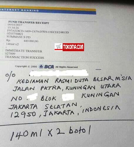 Terima Kasih Atas Orderan Duta Besar Malaysia di Tokoina.com 2