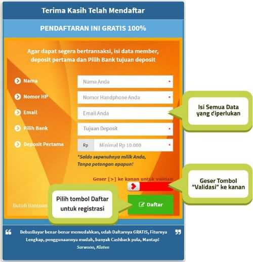 Cara pendaftaran aplikasi bebas bayar