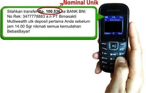 Notifikasi sms pendaftaran bebas bayar
